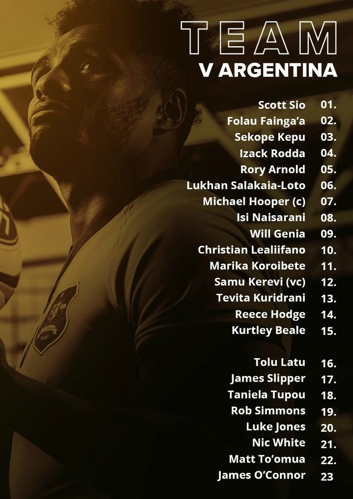 Wallabies starting lineup vs Argentina 2019